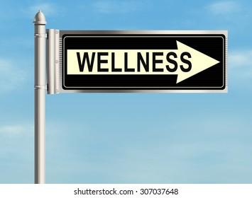 Wellness. Road sign on the sky background. Raster illustration.