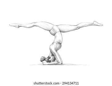 Wellness Series / Sketchy pencil drawing of a young woman in yoga pose / High Resolution Scan