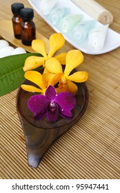 Wellness spa concept with colorful orchid flower