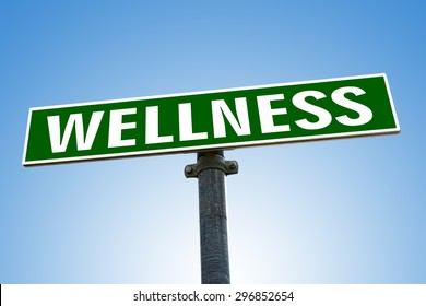 WELLNESS word on green road sign