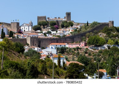 Well-preserved medieval hilltop Castle of Obidos located in the Portuguese district of Leiria.
