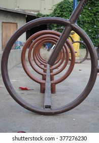 Well-rounded public bicycle parking rack, Chiangkhan, Thailand.