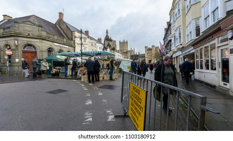 Wells, England - Feb 03, 2018: Wells Farmers Market in City Centre C, Long established and popular weekly farmers market