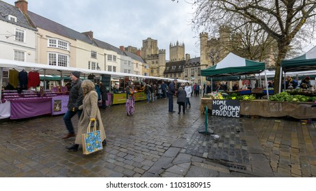 Wells, England - Feb 03, 2018: Wells Farmers Market in City Centre B, Long established and popular weekly farmers market