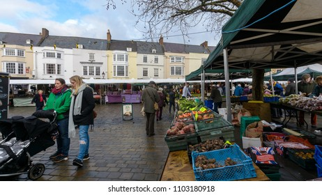 Wells, England - Feb 03, 2018: Wells Farmers Market in City Centre A, Long established and popular weekly farmers market