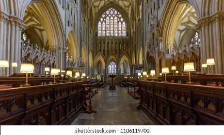 Wells, England - June 2, 2018: Interior of Wells Cathedral - Choir and Golden Window