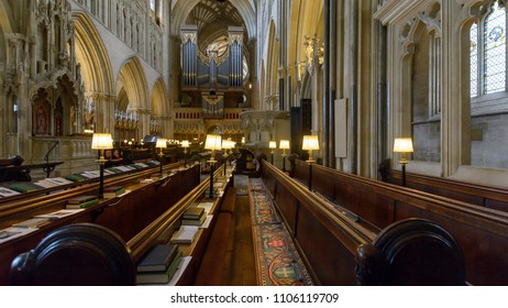 Wells, England - June 2, 2018: Interior of Wells Cathedral - Choir and Organ
