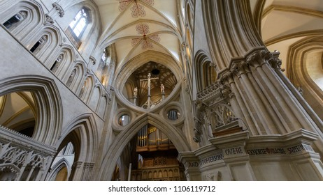 Wells, England - June 2, 2018: Interior of Wells Cathedral - mid view over Scissor Arches
