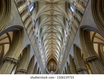 Wells, England - June 2, 2018: Interior of Wells Cathedral - Nave Ceiling low angle