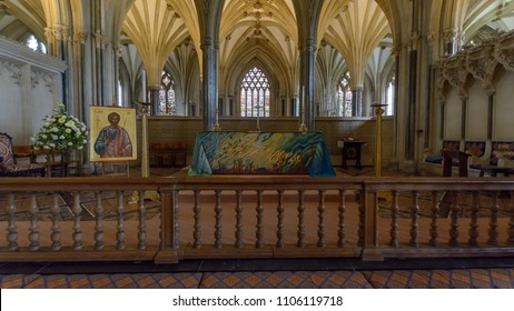 Wells, England - June 2, 2018: Interior of Wells Cathedral - High Altar