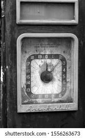 Wells next the Sea, Norfolk, UK 10/11/2019 Old vintage dial petrol pump