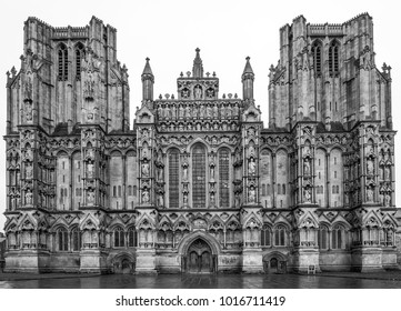 Wells. Somerset, England - 1.27.18 Wells Cathedral main front in black & white