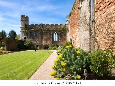 WellsSomersetEnglandMay 4, 2016Old walls and gardens of the Bishop's Palace