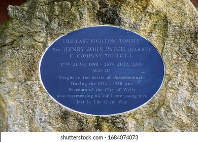 Wells, UK - March 16th 2020: Memorial to Henry John Patch, also known as Harry Patch - the last survivor of the trenches in the 1st World War, in Wells in Somerset, UK.
