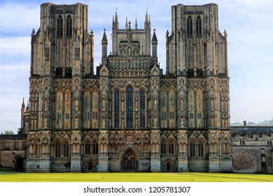 Wells,Somerset,United Kingdom.01.30.2018.West front of the Cathedral Church of St Andrew or Wells Cathedral exterior.