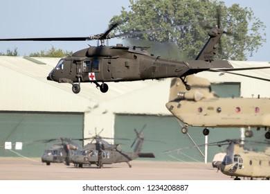 WELSCHAP, NETHERLANDS - JUN 22, 2018: United States Army Sikorsky UH-60 Blackhawk transport helicopter taking off.