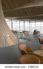 Welsh Assembly Building public gallery and cafe seating lounge.