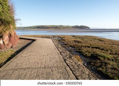 Welsh coastal footpath around Laugharne in Carmarthenshire, West Wales, United Kingdom