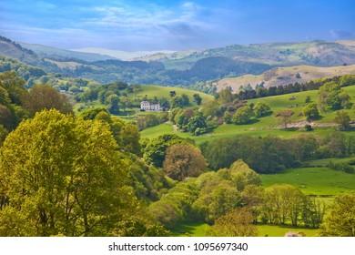 Welsh hills and forests landscape view near Llangollen in Denbighshire