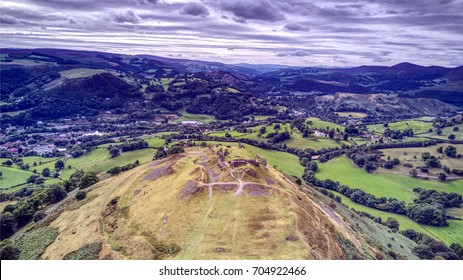 Welsh Hillside with ruins on top near Llangollen, North Wales