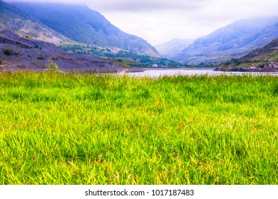 Welsh landscape, lake and mountains