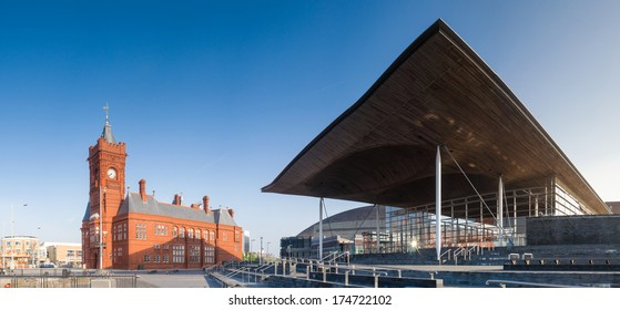 Welsh national assembly hall and pier head building in Cardiff Bay.