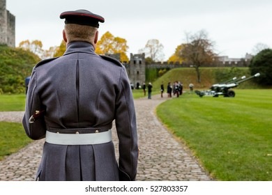 Welsh Soldier Standing Guard during a Ceremony at Cardiff Castle in Wales, UK