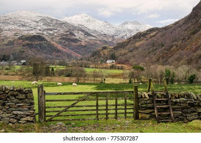 The Welsh village of Beddgelert in the Snowdonia National Park in North Wales, United Kingdom. Winter landscape.