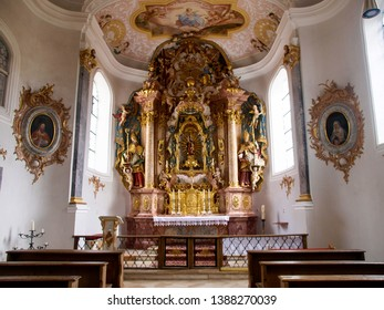 Weltenburg, Germany - March 05, 2017: Interior of the Benedictine monastery of Weltenburg, the oldest abbey in Bavaria, was founded around 600 by monks of St. Columban
