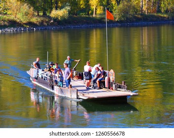 Weltenburg / Germany - October 14, 2018: Ferry boat on Danube river in Weltenburg. Traditional local transport with very long history.