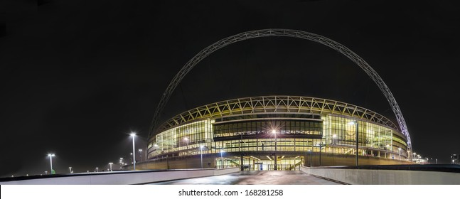 Wembley stadium Arch - Stock Image. The Arch of the new stadium located at Wembley park in London. It was built at the place of the old stadium.Many famous singers and groups held their concerts here.