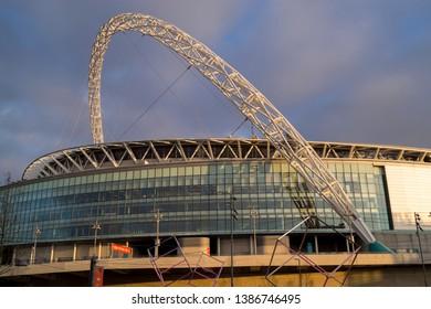 Wembly, London, England, UK - 11/28/2016: The Arch of Wembley stadium dominates the surrounding area of Wembley.