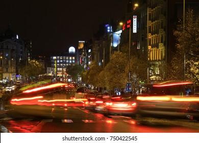 The Wenceslas Square at night, Prague, Czech Republic, November 2017
