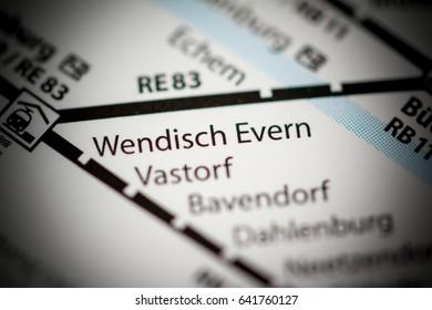 Wendisch Evern Station. Hamburg Metro map.
