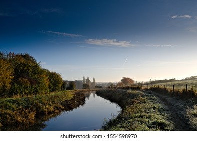 The Wendover Arm Canal, near Tring, in the county of Hertfordshire, England, on a sunny Autumn morning.
