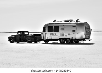 Wendover UT, USA on August 14, 2019 : Airstream trailer on Bonneville salt flats.
