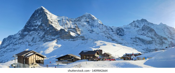 WENGEN, SWITZERLAND - JANUARY 10, 2016: Panorama of the winter mountains of Jungfrau, Eiger, Monch in the Jungfrau region, Switzerland.