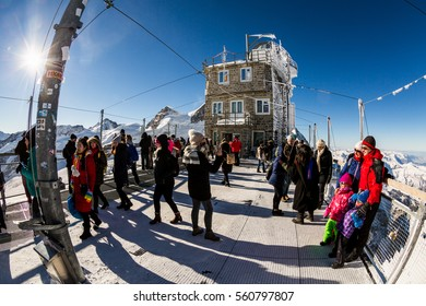 WENGEN, SWITZERLAND - JANUARY 6, 2017: View of the observation station on top of the mountain Jungfrau on January 6, 2017. Its one of Switzerlands major attraction and very popular by tourist.