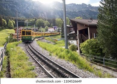 WENGEN, SWITZERLAND : MAY 20, 2018 - Railway Service that runs through the town of Wengen.