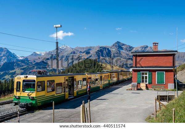 WENGEN, SWITZERLAND - SEPTEMBER 29, 2015 : Small train station on the trail from Kleine Scheidegg to Wengen, Switzerland.