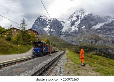 WENGERNALP, SWITZERLAND - NOV 15, 2014: Wengernalp is a railway station in the municipality of Lauterbrunnen. It is on the Wengernalpbahn, whose trains operate from Lauterbrunnen to Kleine Scheidegg.