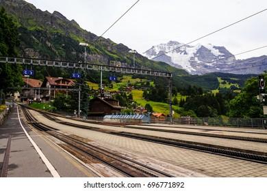 Wengernalpbahn railway station in car free village Wengen with the mountain Jungfrau in the background. Wengen, Bernese Oberland, Switzerland