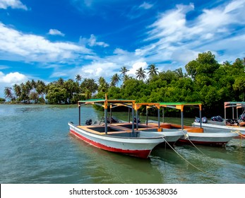 Weno, Chuuk State / Micronesia - January 2018: Dive boats moored at a dive centre