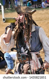Wentzville, Missouri/USA - June 1, 2014: A Captain Jack Sparrow impersonator at the St. Louis Renaissance Festival