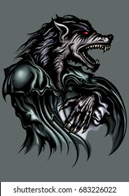 Werewolf . Illustration a roaring werewolf dressed in old fashioned clothes