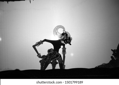 Werkudara / Bima, is the strongest puppet figure. In black and white, Wayang kulit or Shadow puppets typical of Java, Indonesia.