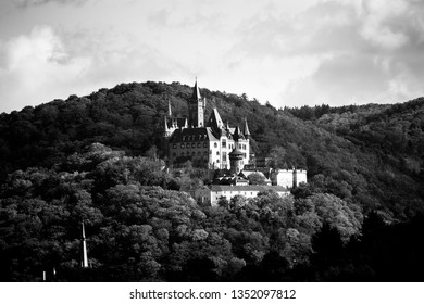 Wernigerode in black and white perched castle on top of a mountain