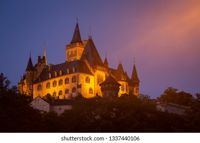 Wernigerode castle in the night with lighting