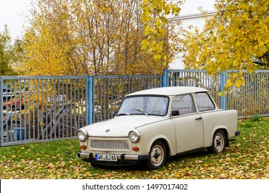 Wernigerode, Germany 10/30/2015 A light-coloured Trabant P601 series car outdoors in autumn, the most common vehicle in former East Germany. Wernigerode became part of the GDR after World War II