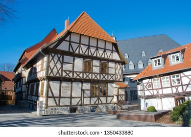 WERNIGERODE, GERMANY - FEBRUARY 24, 2019: Exterior of the Museum Schiefes Haus, downtown Wernigerode